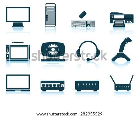 Set of hardware icons. EPS 10 vector illustration without transparency. - stock vector