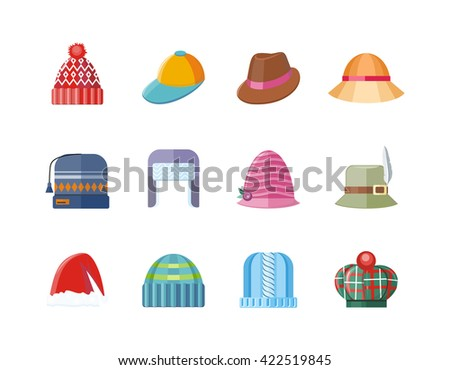 Set of hat flat design collection. Man winter hat isolated, fashion ladies hat accessory clothing wear, christmas hat, retro vintage woman hat elegance vector illustration - stock vector