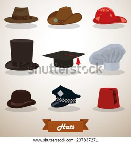 Set of Hats, vector - stock vector