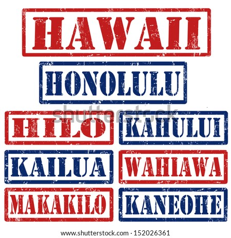 Set of Hawaii cities stamps on white background, vector illustration
