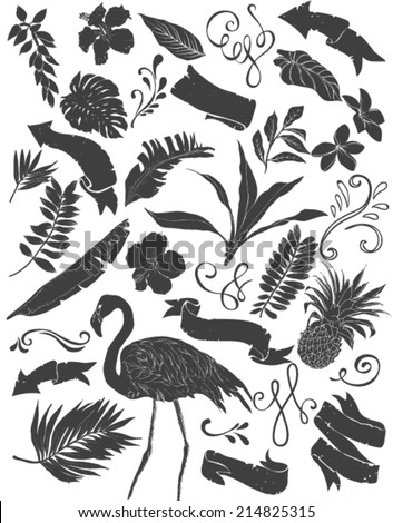 set of hawaii collection silhouettes isolated on white background - stock vector