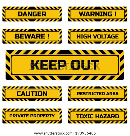 Set of hazard signs. Vector illustration.