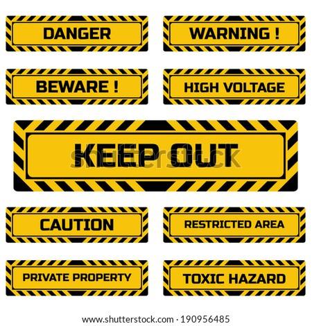 Set of hazard signs. Vector illustration. - stock vector