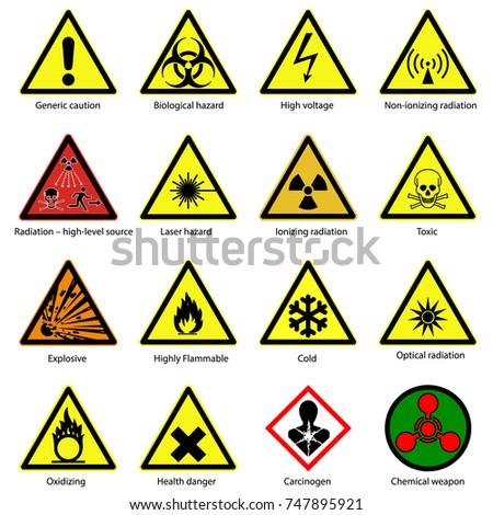 Set Hazard Symbols Warning Signs Stock Vector 747895921 Shutterstock