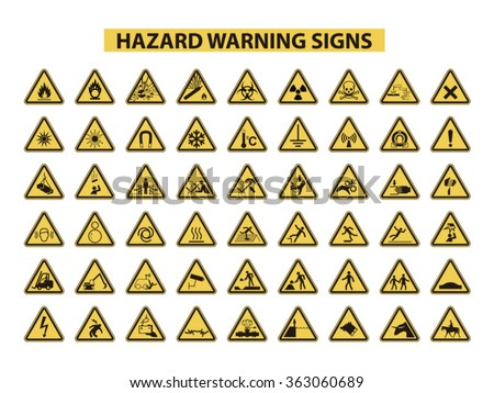 set of hazard warning signs on white background - stock vector
