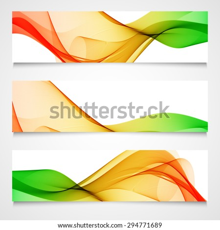 Set of headers with colorful abstract wave design, isolated. Vector illustration. - stock vector