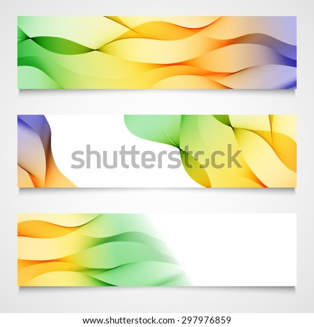 Set of headers with colorful, yellow, violet and green, spectrum abstract wave design, isolated. Vector illustration. - stock vector