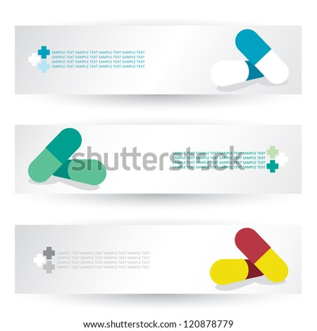 Set of headers with pills - vector illustration - stock vector