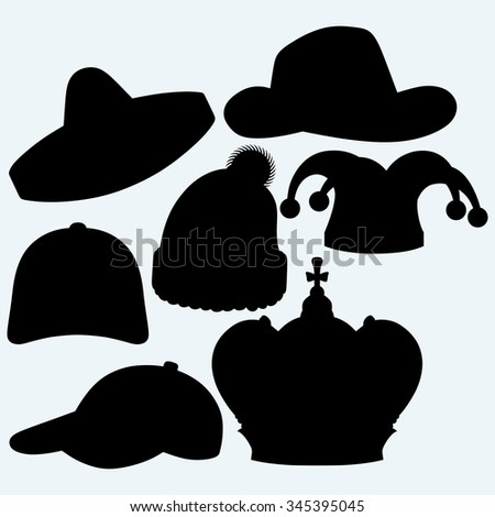 Set of headgear. Crown, winter hat, baseball cap, cowboy hat, jester hat and mexican. Isolated on blue background. Vector silhouettes - stock vector