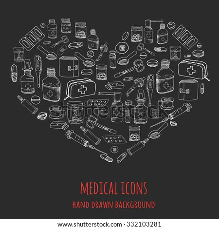 Set of health care and medicine hand drawn icons, doodle medical elements, vector background with wellness freehand drawings Vector sketch illustration with outlined medical icons - stock vector