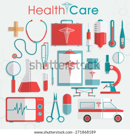 Set of Health Care elements including medical tools, medicines and ambulance on grey background. - stock vector