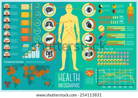Set of Health Care Infographic elements with icons, different charts, rates etc. Vector - stock vector