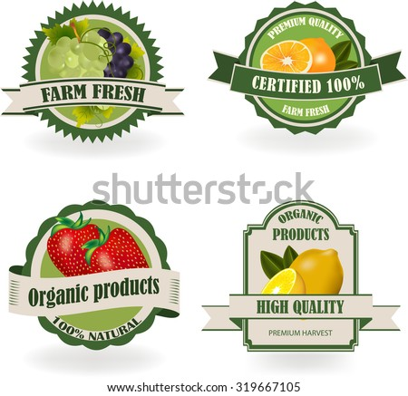 Set of healthy and organic fruit labels. Ecology theme.