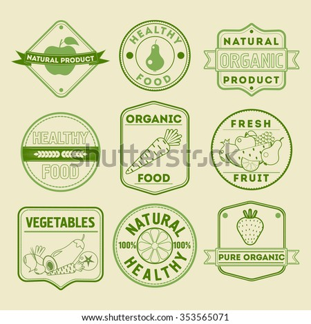 Set of Healthy Food Badges Logos with Fruits and Vegetables in vector