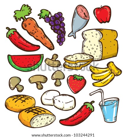 set of healthy food in doodle style - stock vector