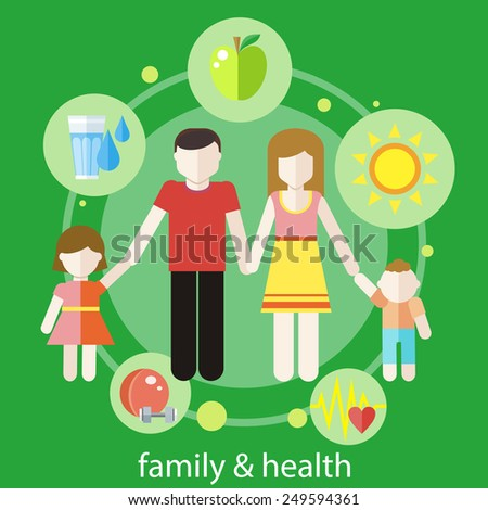 Set of healthy icons in flat design around famile. Healthy family concept - stock vector