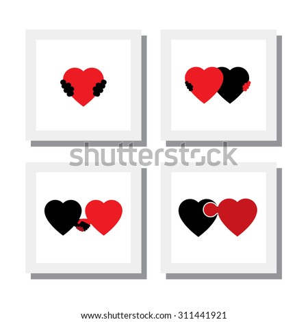 set of heart and love symbols of empathy, compassion, care - vector icons. this also represents concepts like romance, intimacy, self-love, self-esteem, romeo juliet romance, care, support, feelings - stock vector