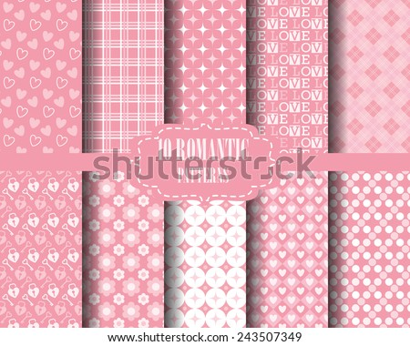 set of Heart and sweet pink seamless pattern, for valentines day, Pattern Swatches, vector, Endless texture can be used for wallpaper, pattern fills, web page,background,surface - stock vector