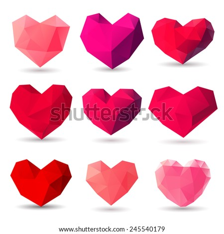 Set of heart gem symbols for Valentines Day - stock vector