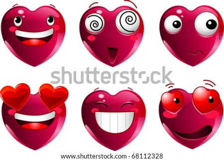 Set of heart shape emoticons with different faces, eyes, mouth and brushes - stock vector
