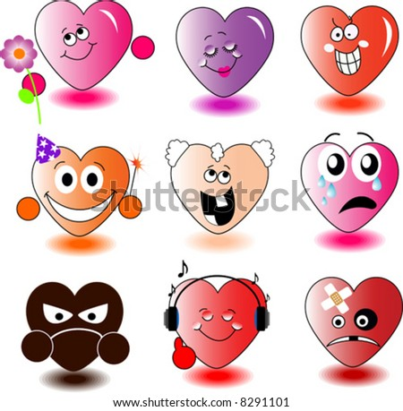 Set of heart-smileys. Vector illustration. - stock vector