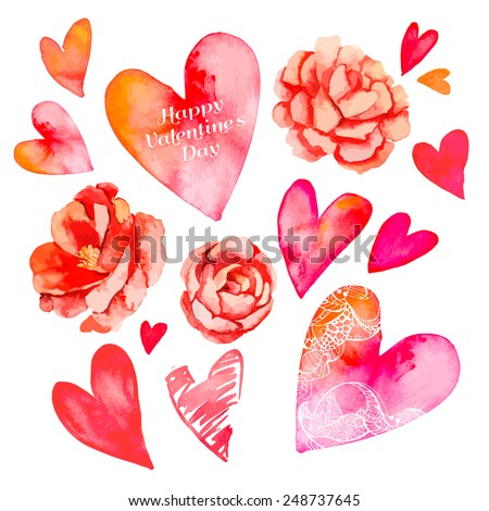 Set of hearts and roses. Valentine's Day. Watercolor heart. Vector. Camellia. - stock vector