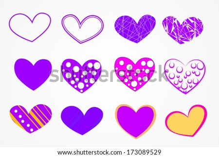 set of hearts for Valentine's day - stock vector