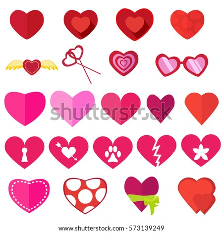 set of hearts for valentines day flat love icons isolated on white background vector - Cartoon Valentine Pictures