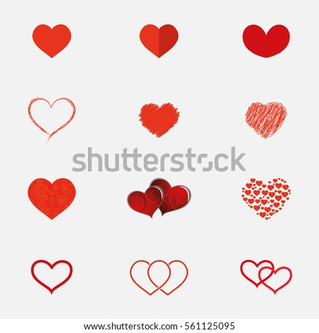 Set of hearts icons in different styles.