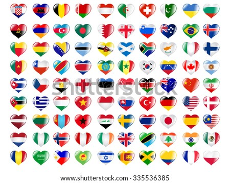 set of hearts in colours of national flags - stock vector