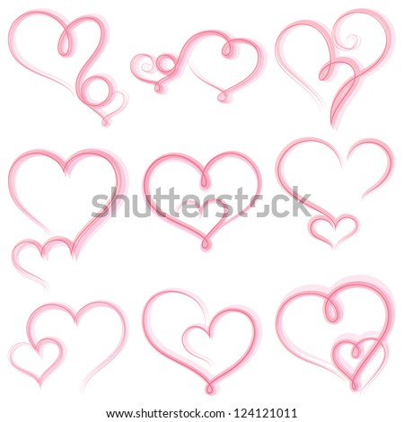 Set of  hearts on white background.Vector - stock vector