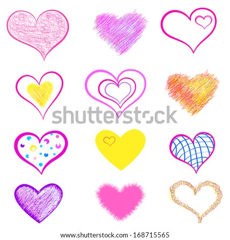 Set of Hearts Sketchy Doodles - stock vector
