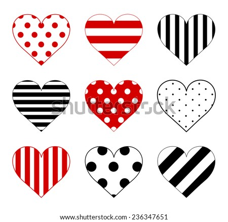 Set of hearts with big and small polka dot pattern, lined texture with large and small lines and diagonal stripes in black and red color. Vector art image illustration, isolated on white background - stock vector
