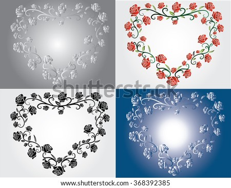 set of  hearts with roses - stock vector