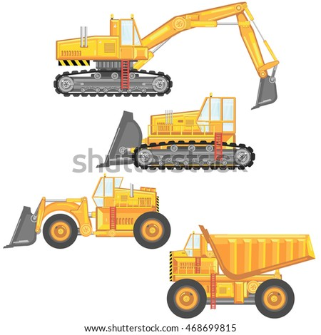 set of heavy construction machinery. vector illustration