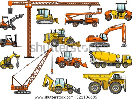 Set of heavy construction machines icons. Vector illustration. Silhouette illustration of heavy equipment and machinery. - stock vector
