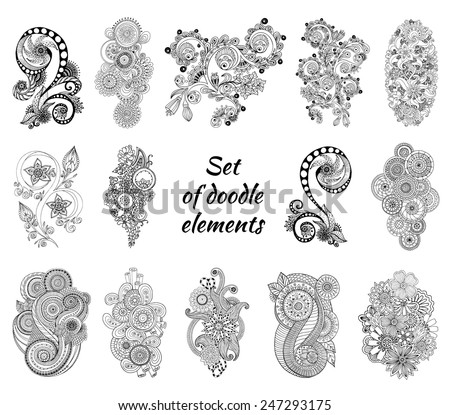 Set of Henna Paisley Mehndi Doodles Abstract Floral Vector Illustration Design Element. Black and White Version. - stock vector