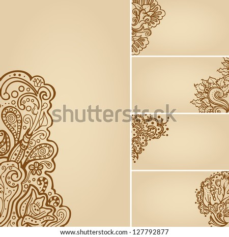 Set Henna Tattoo Floral Banners Business Stock Vector 127792877 ...