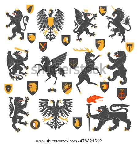 Set Of Heraldic Animals And Elements. Vector Illustration