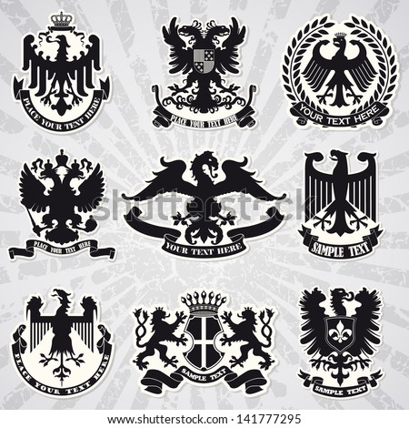 Set of heraldic coats of arms - stock vector