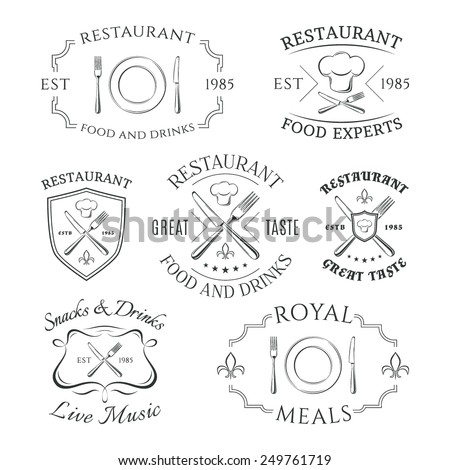 Set of heraldic restaurant logos, labels and badges. Vector illustration - stock vector