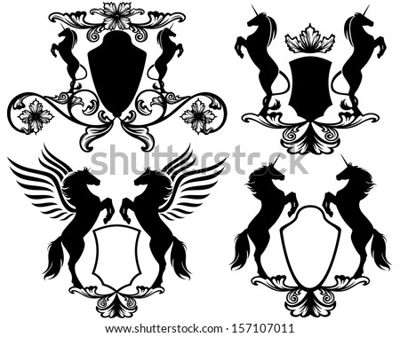 set of heraldic shields with rearing up magic horses  - pegasus and unicorns (easy editable collection) - stock vector