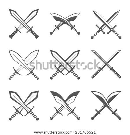 Set of heraldic swords and sabres for heraldry design vector illustration - stock vector