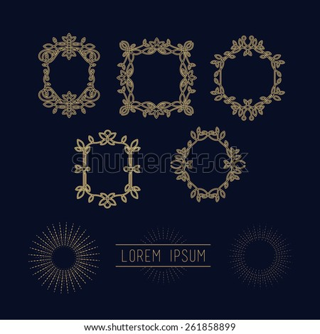 Set of heraldic vector line frame design elements for logos,ornament and decoration, emblem, background, frames and borders in modern style, gold line color, floral for you logotype. - stock vector