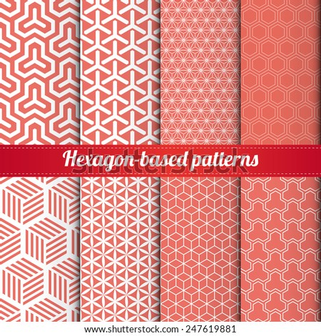 Attirant Set Of 8 Hexagon Based Patterns Vector.For Web, Print, Wallpaper,