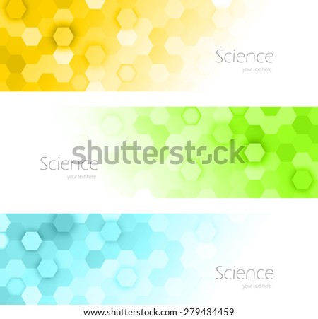 Set of hexagons banners in green blue orange color - stock vector