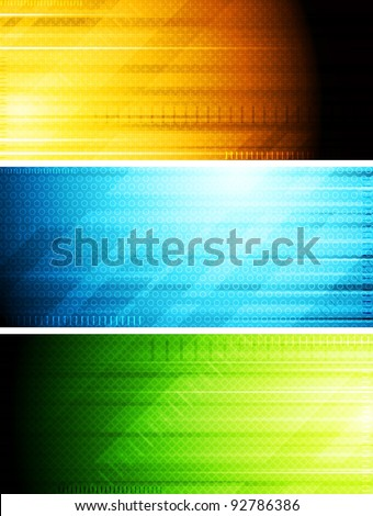 Set of hi-tech colorful banners. Eps 10 vector - stock vector