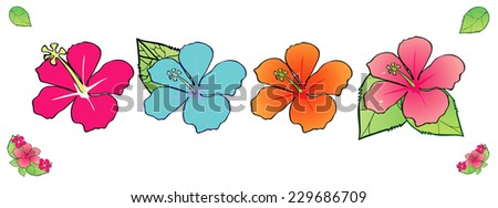 Set of hibiscuses with leafs, vector illustration - stock vector