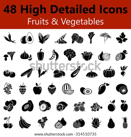 Set of High Detailed Fruits and Vegetables Smooth Icons in Black Colors. Suitable For All Kind of Design (Web Page, Interface, Advertising, Polygraph and Other). Vector Illustration.  - stock vector