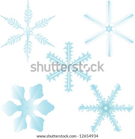 Set of 5 highly detailed and editable snow flakes. Colors can easily be changed. - stock vector